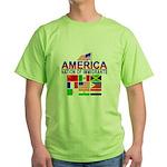 Patriotic America NOI Flags Green T-Shirt