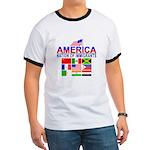 Patriotic America NOI Flags Ringer T