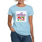 Patriotic America NOI Flags Women's Pink T-Shirt