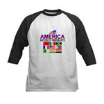 Patriotic America NOI Flags Kids Baseball Jersey