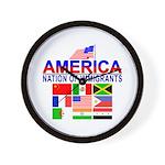 Patriotic America NOI Flags Wall Clock