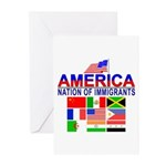 Patriotic America NOI Flags Greeting Cards (Packag