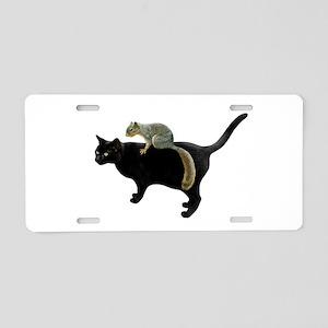 Squirrel on Cat Aluminum License Plate