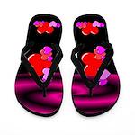 Retro Black Hearts Flip Flops