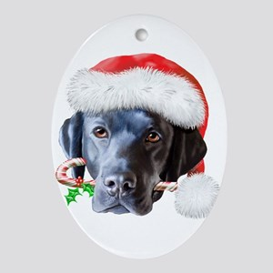 Black Lab Christmas Ornament (Oval)