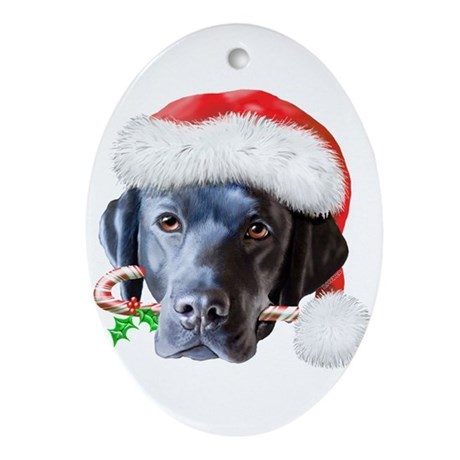 Black Lab Christmas Ornament Oval