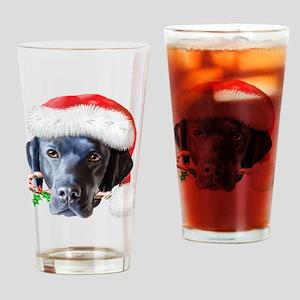 Black Lab Christmas Drinking Glass
