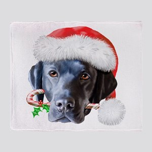Black Lab Christmas Throw Blanket