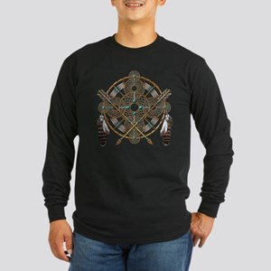 Turquoise Silver Dreamcatcher Long Sleeve Dark T-S