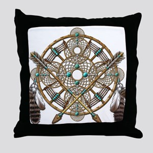 Turquoise Silver Dreamcatcher Throw Pillow