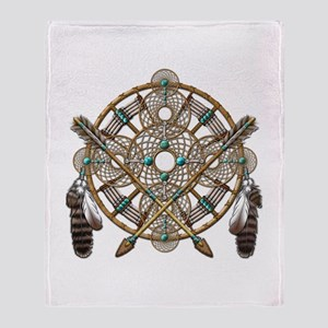 Turquoise Silver Dreamcatcher Throw Blanket