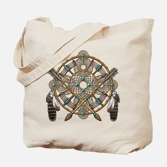 Turquoise Silver Dreamcatcher Tote Bag