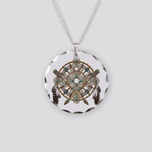 Turquoise Silver Dreamcatcher Necklace Circle Char