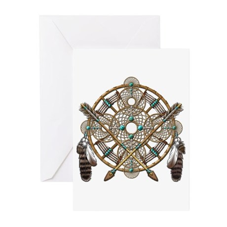 Turquoise Silver Dreamcatcher Greeting Cards (Pk o