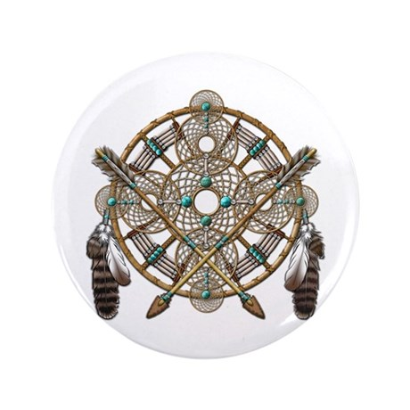 """Turquoise Silver Dreamcatcher 3.5"""" Button (100 pac"""