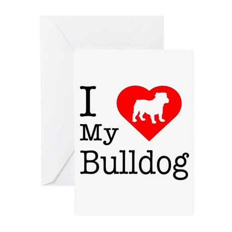 I Love My Bulldog Greeting Cards (Pk of 10)