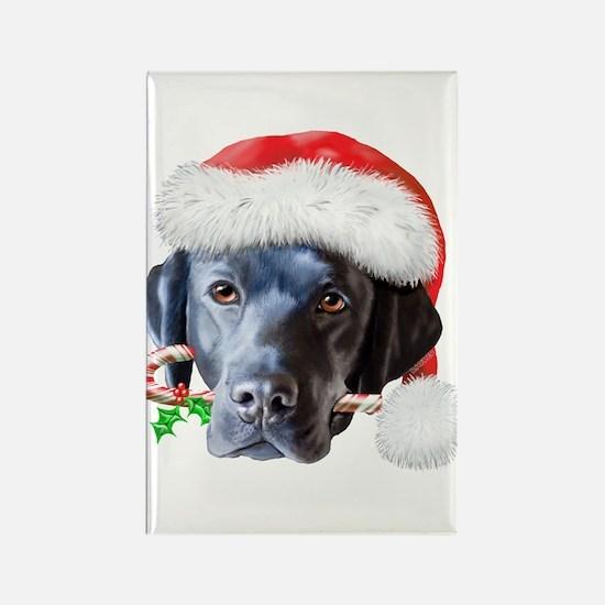 Black Lab Christmas Rectangle Magnet