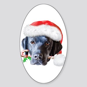 Black Lab Christmas Sticker (Oval)