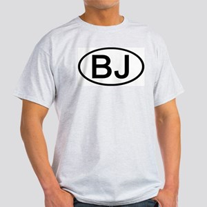 BJ - Initial Oval Ash Grey T-Shirt