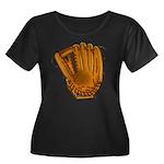 baseball glove Women's Plus Size Scoop Neck Dark T