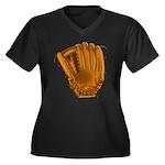 baseball glove Women's Plus Size V-Neck Dark T-Shi