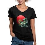 shishi Women's V-Neck Dark T-Shirt