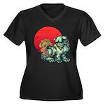 shishi Women's Plus Size V-Neck Dark T-Shirt
