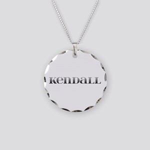 Kendall Carved Metal Necklace Circle Charm