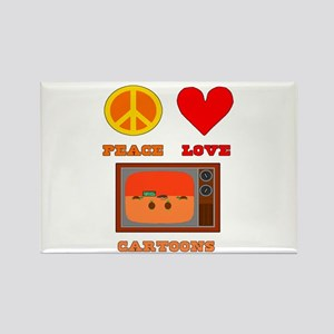 Peace Love Cartoons Rectangle Magnet