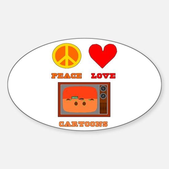 Peace Love Cartoons Sticker (Oval)