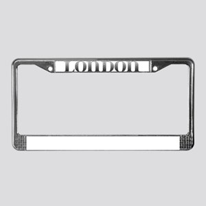 London Carved Metal License Plate Frame