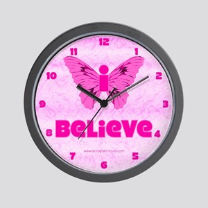 iBelieve - Pink Wall Clock