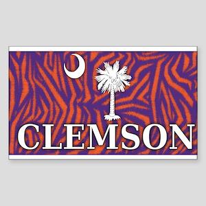 Clemson Tiger Print Flag Sticker (Rectangle)