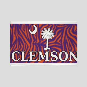 Clemson Tiger Print Flag Rectangle Magnet