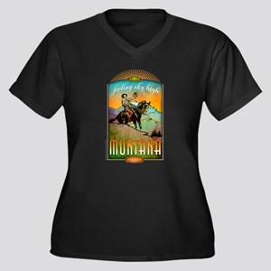 Montana Women's Plus Size V-Neck Dark T-Shirt