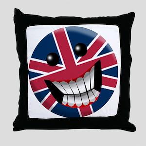 British Smile Throw Pillow
