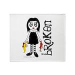 Broken Goth Doll Throw Blanket