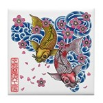 carp cherry Tile Coaster