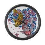 carp cherry Large Wall Clock