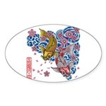 carp cherry Sticker (Oval)