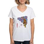 tiger cherry Women's V-Neck T-Shirt