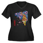 tiger cherry Women's Plus Size V-Neck Dark T-Shirt