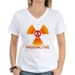 radioactive skull Women's V-Neck T-Shirt