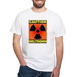 caution meltdown White T-Shirt