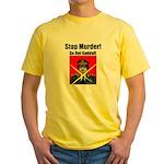 Stop murder ! Gaddafi Yellow T-Shirt