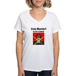 Stop murder ! Gaddafi Women's V-Neck T-Shirt