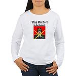 Stop murder ! Gaddafi Women's Long Sleeve T-Shirt