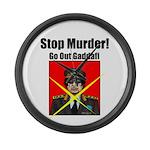 Stop murder ! Gaddafi Large Wall Clock
