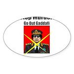 Stop murder ! Gaddafi Sticker (Oval 50 pk)