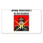 Stop murder ! Gaddafi Sticker (Rectangle 50 pk)